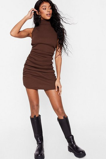 Chocolate Ruched High Neck Bodycon Mini Dress