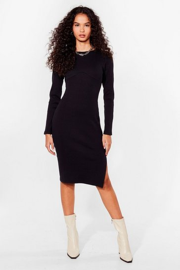Black Get Slit Together Ribbed Midi Dress