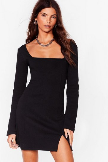 Black Takin' Square of Business Ribbed Mini Dress