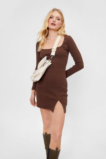 Chocolate Takin' Square of Business Ribbed Mini Dress