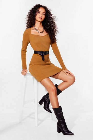 Mocha Not Your Sweetheart Ribbed Mini Dress