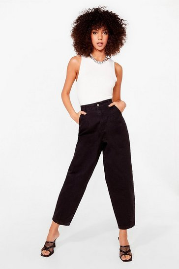 Black Relaxed Tapered High Waisted Organic Jeans