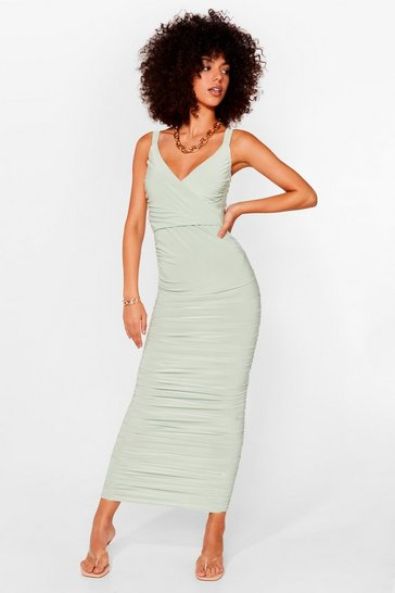 Sage Ruche Off Bodycon Maxi Dress