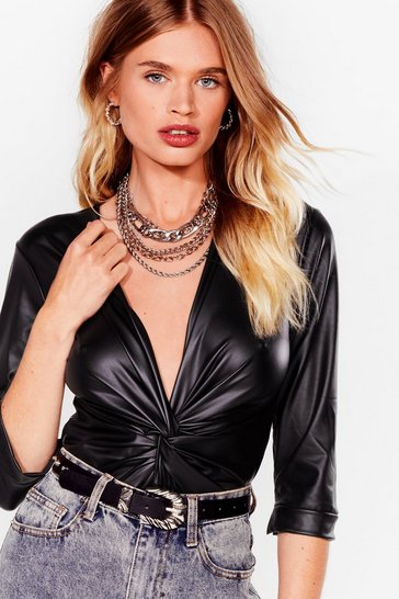 Black Faux Leather Tell a Soul Plunging Twist Bodysuit