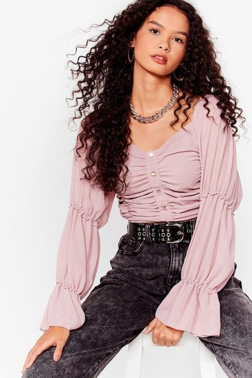 Dusky pink Gather Your Things Ruched Crop Top