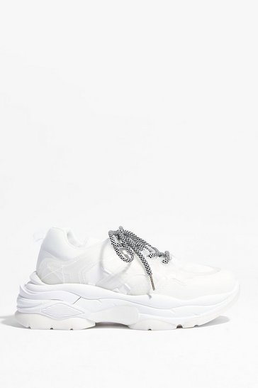 White Take a Hike Faux Leather Chunky Sneakers