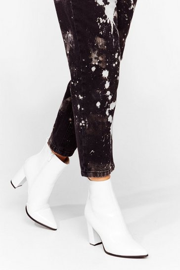 White Point It Out Faux Leather Heeled Boots