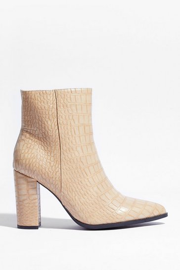 Beige Croc My World Faux Leather Ankle Boots