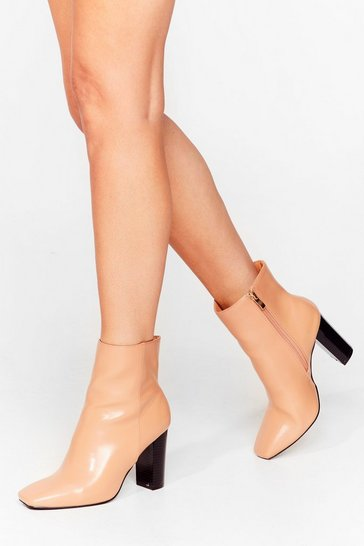 Camel On Toe You Faux Leather Heeled Boots