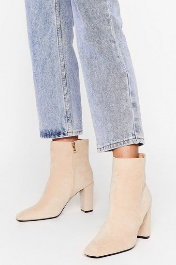 Beige Go Toe to Toe Faux Suede Ankle Boots