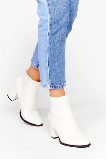White Faux Leather Low Heel Ankle Boots