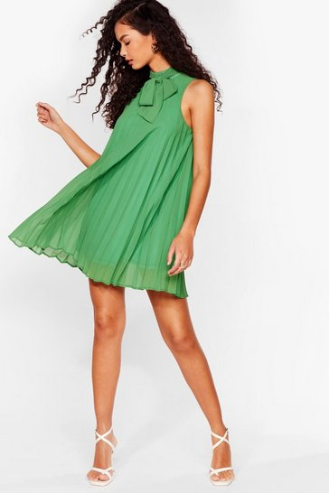 Green 'Til We Pleat Again High Neck Mini Dress