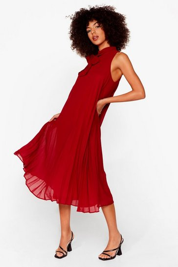 Berry Do It With Trapeze Pleated Midi Dress