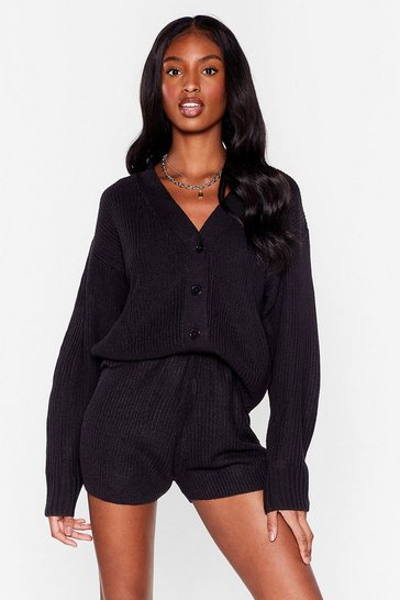 Black In the Thick of Knit Cardigan and Shorts Lounge Set