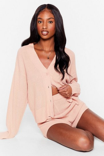 Rose In the Thick of Knit Cardigan and Shorts Lounge Set