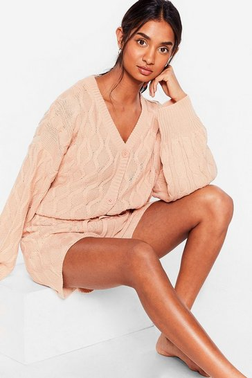 Rose Knit Over You Yet Cardigan and Shorts Lounge Set