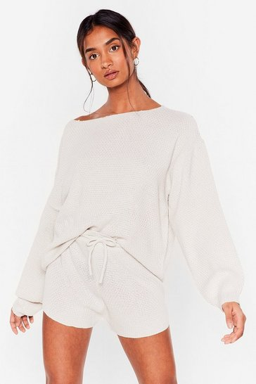 Grey Sleep Knit Off-the-Shoulder Shorts Lounge Set