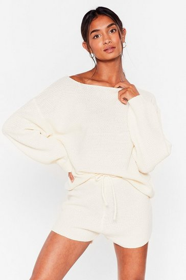 Oatmeal Sleep Knit Off-the-Shoulder Shorts Lounge Set