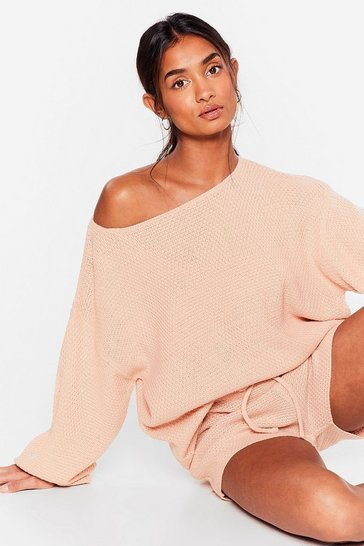 Rose Sleep Knit Off-the-Shoulder Shorts Lounge Set