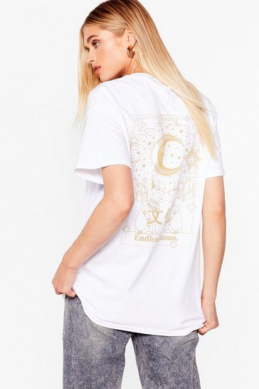 White Endless Moon Backplacment Graphic Tee