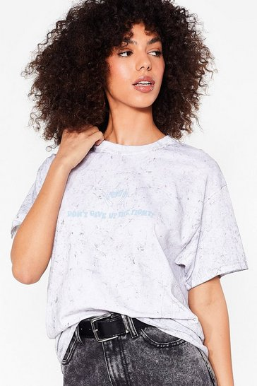 T-shirt effet tie dye à slogan Don't Give Up The Fight, Grey