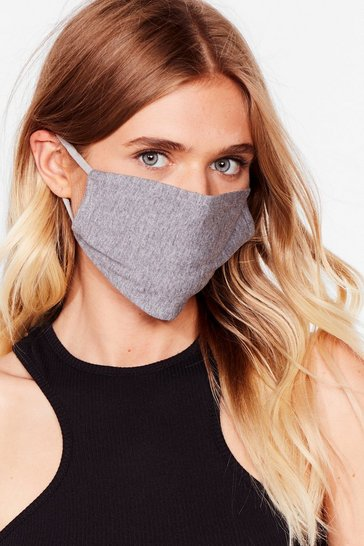 Grey marl All Mouth Fashion Face Mask