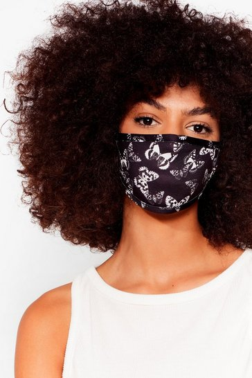 Black Free the Butterfly Fashion Face Mask
