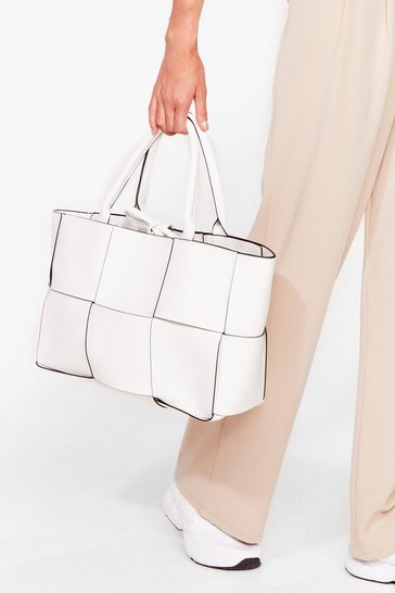 White WANT Square Up Woven Tote Bag