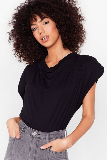 Black Cowl Me Back Shoulder Pad Top
