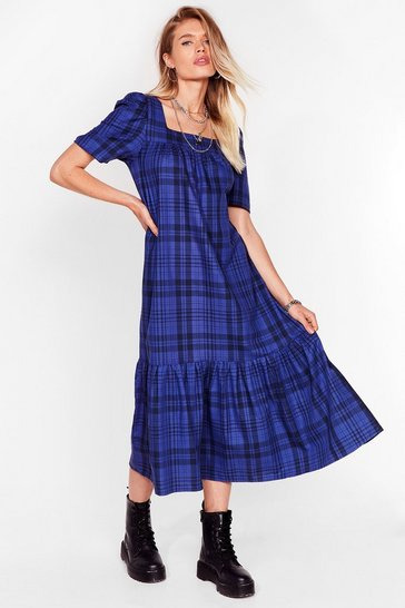 Cobalt Check Your Facts Relaxed Midi Dress