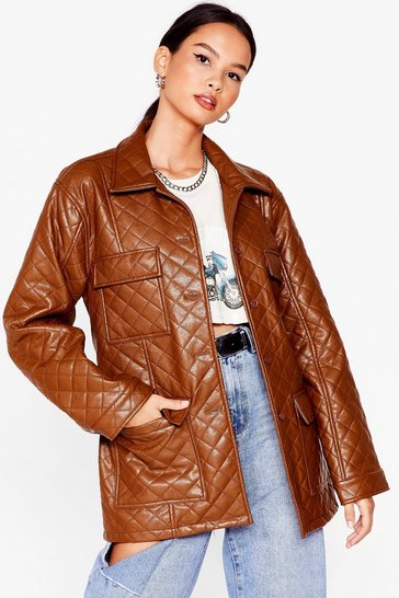 Khaki Callin' It Quilts Faux Leather Belted Jacket