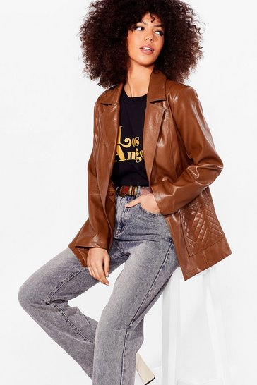 Brown Don't Call It Quilts Faux Leather Jacket