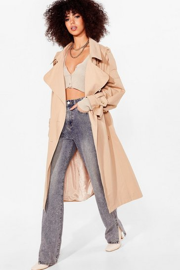 Stone Oversized Belted Longline Trench Coat