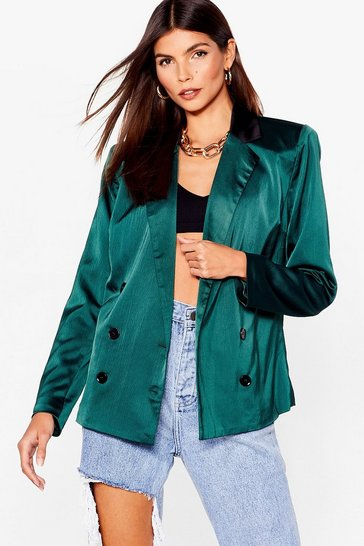 Emerald Let's Sleek Business Satin Double Breasted Blazer