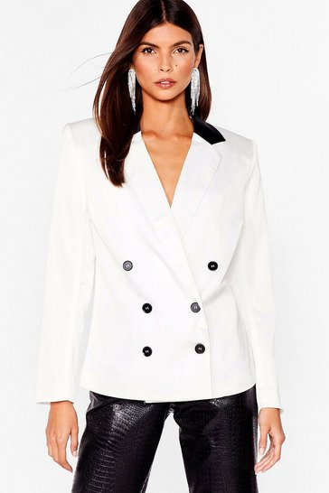 White Forget the Contrast Double Breasted Blazer