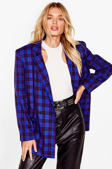 Cobalt We're Just Checkin' Oversized Shoulder Pad Blazer