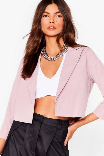 Blush This Means Business Cropped Tailored Blazer