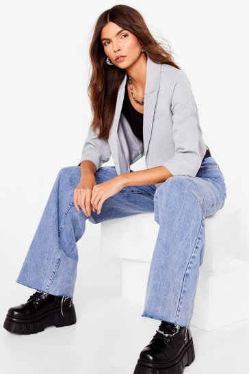 Sage This Means Business Cropped Tailored Blazer