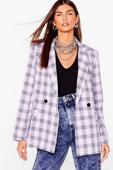 Lilac Checking You Out Oversized Double Breasted Blazer