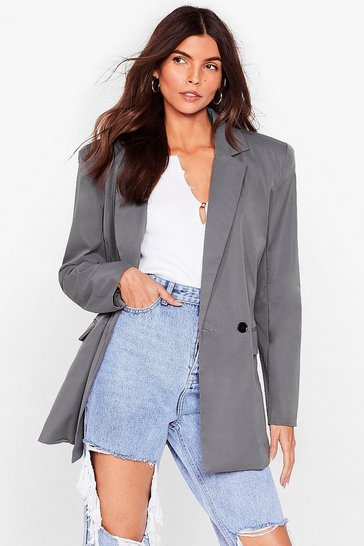 Grey Big Shoulders Big Dreams Relaxed Blazer