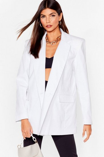 White Shoulder Pad Oversized Tailored Blazer