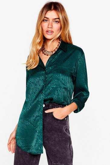Green Zebra Satin Oversized Shirt