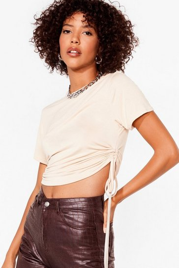 Tan Right By Your Side Ruched Crop Top