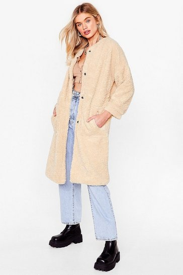 Stone Faux Shearling Longline Teddy Coat
