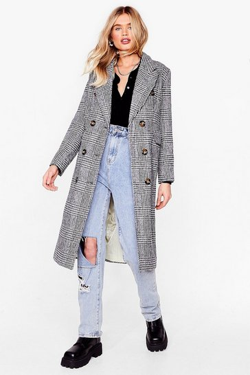 Black Check Longline Smart Coat