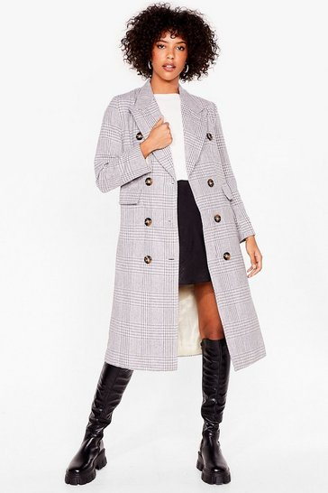 Grey You're Lookin' Line Check Longline Coat
