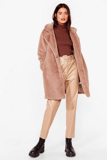 Stone Can't Touch This Belted Faux Fur Coat
