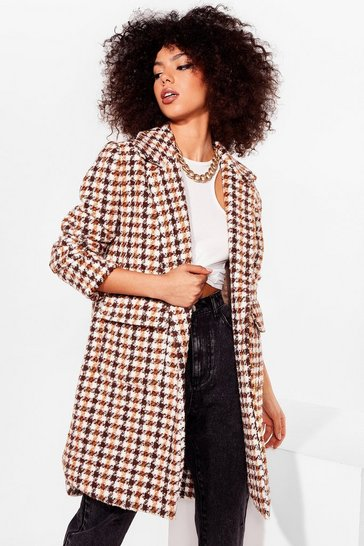 Brown Pocket About 'Em Houndstooth Longline Coat
