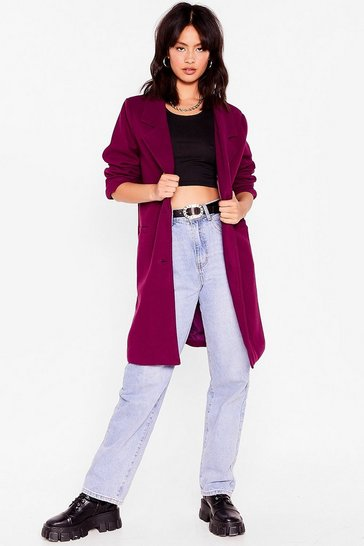Berry Love Will Faux Wool Find Away Longline Coat