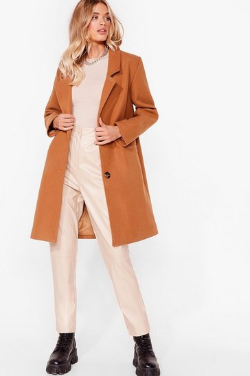 Camel Love Will Faux Wool Find Away Longline Coat